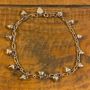 925 Sterling Silver Dangling Hearts Anklet